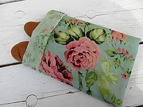 Úžitkový textil - voskované vrecko tyrkysová s ružami - 10661111_