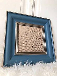 Dekorácie - Modrý rámik na fotografiu so zlatým detailom. - 10662007_