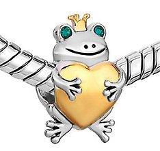 Korálky - Strieborno&zlatá pandorková korálka žabka so štrasovými očkami - 10661810_