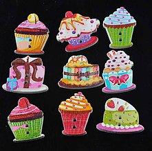 Galantéria - Drevený gombík koláčiky (balíček 5ks) - 10662157_