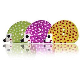 Galantéria - Drevený gombík ježkovia (balíček 5ks) - 10662176_