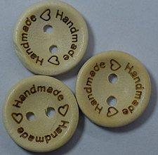 Galantéria - Drevený gombík HANDMADE 2cm - 10662185_
