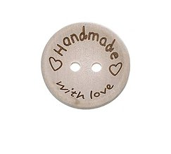 Galantéria - Drevený gombík HANDMADE WITH LOVE 15mm - 10662195_