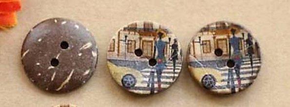Galantéria - Kokosový gombík 2cm s potlačou - 10662205_