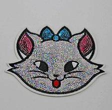 Galantéria - Flitrová aplikácia / nažehlovačka mačička - 10662243_
