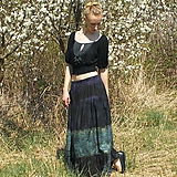 Sukne - Maxi sukňa modro-zelená S-XL - 10661385_