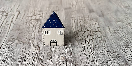 Odznaky/Brošne - maľovaný bodko domček - brošňa (modrý menší) - 10660715_