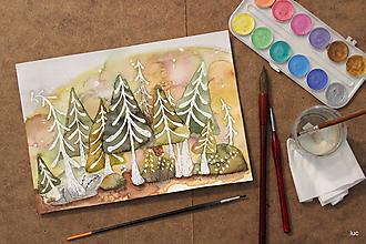 Obrazy - Rozprávkový les - akvarel - 10667702_