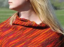 Iné oblečenie - Červeno oranžové pončo - 10665993_