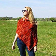 Iné oblečenie - Červeno oranžové pončo - 10665992_