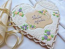 Dekorácie - Medovníkové srdce Všetko najlepšie 23 cm - 10667099_