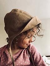 Detské čiapky - Ľanový čepček so šiltíkom (Modrá) - 10666621_