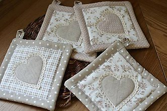 Úžitkový textil - Béžové chňapky - 10665455_