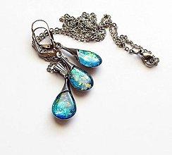 Sady šperkov - Duhově modrá sada z chirurgické oceli - 10665521_