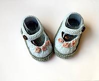 Topánočky - Mentolové sandálky s ružičkami 12cm - 10666960_