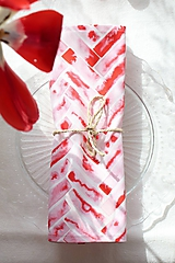 Úžitkový textil - Set štyroch textilných akvarelových prestieraní - Scarlet I. - 10665392_