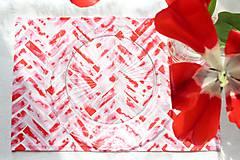 Úžitkový textil - Set štyroch textilných akvarelových prestieraní - Scarlet I. - 10665402_