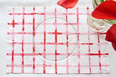 Úžitkový textil - Set štyroch textilných akvarelových prestieraní - Scarlet I. - 10665407_