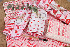 Úžitkový textil - Set štyroch textilných akvarelových prestieraní - Scarlet I. - 10665408_