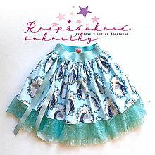 Detské oblečenie - Suknička jednorožková aqua 98/110 - 10665983_