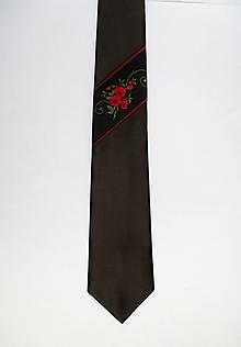 Doplnky - čierna kravata FOLK - 10667296_