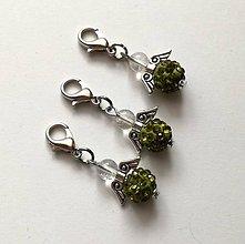 Kľúčenky - Prívesok - shamballkový anjelik (oliva) - 10666650_