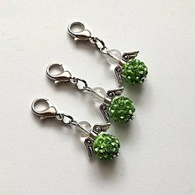 Kľúčenky - Prívesok - shamballkový anjelik (zelená) - 10666653_