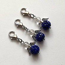 Kľúčenky - Prívesok - shamballkový anjelik (modrá) - 10666701_