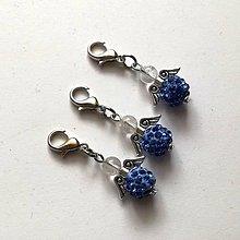 Kľúčenky - Prívesok - shamballkový anjelik (modrá svetlá) - 10666705_