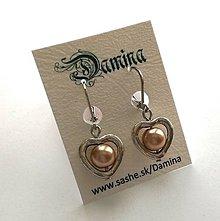 Náušnice - Perlička v srdci (zlatohnedá) - 10667391_