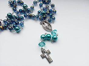 Iné šperky - Ruženec v modrej farbe - 10665306_
