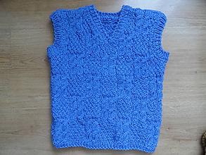 Detské oblečenie - modrá vestička cca 4 roky - 10667012_