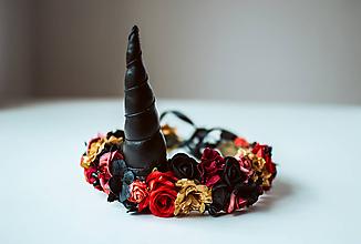 Ozdoby do vlasov - Kvetinový venček Jednorožec Halloween - 10667514_