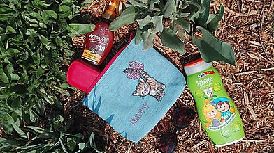 Taštičky - Kozmetická taška z rifľoviny pre deti s menom - 10666150_