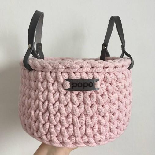 Háčkovaný košík jumbo s koženými rúčkami