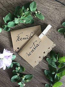 Papier - Svadobná menovka - hnedá čipka - 10665662_