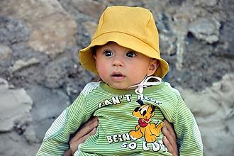 Detské čiapky - Ľanový klobúčik horčicový - 10667694_
