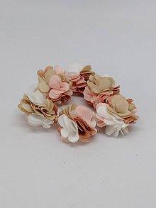 Polotovary - Strapček- gulička kvet - pár (Mix béžová) - 10666576_
