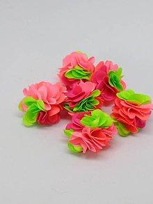 Polotovary - Strapček- gulička kvet - pár (Neónová) - 10666584_