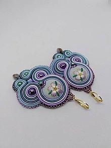 Náušnice - Romantické šujtášové náušničky  (Zelená s fialovou) - 10666840_