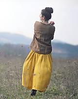 Sukne - Maxi sukně z mušelínu - žlutá puntíčková - 10667775_