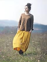Sukne - Maxi sukně z mušelínu - žlutá puntíčková - 10667776_