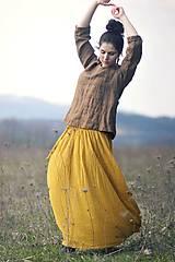Sukne - Maxi sukně z mušelínu - žlutá puntíčková - 10667778_