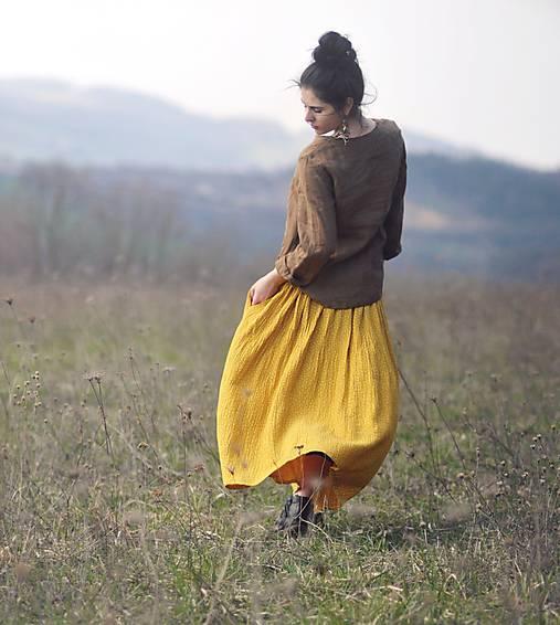 Maxi sukně z mušelínu - žlutá puntíčková