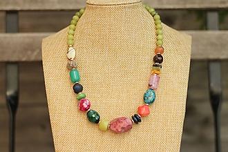 Náhrdelníky - Jarný náhrdelník z mixu minerálov - 10665220_