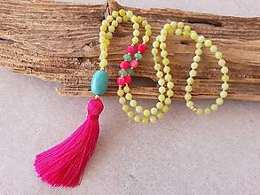 Náhrdelníky - Mala náhrdelník jadeit, achát a tyrkenyt - 10669433_