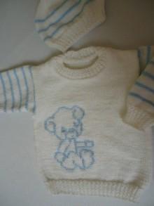 Detské súpravy - detská súpravička biela - modrý macík - 10670771_