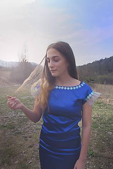 Šaty - Tmavomodré elegantné šaty UP - 10670986_