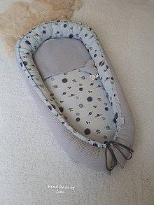Textil - EXKLUSÍVNE  hniezdo pre bábätko - dizajnová 100% bavlna + sivé vafle - 10669831_
