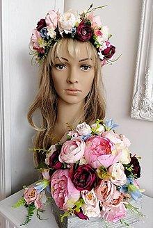 Kytice pre nevestu - Svadobný set, venček a kytica pre nevestu, pierko pre ženícha - 10668313_